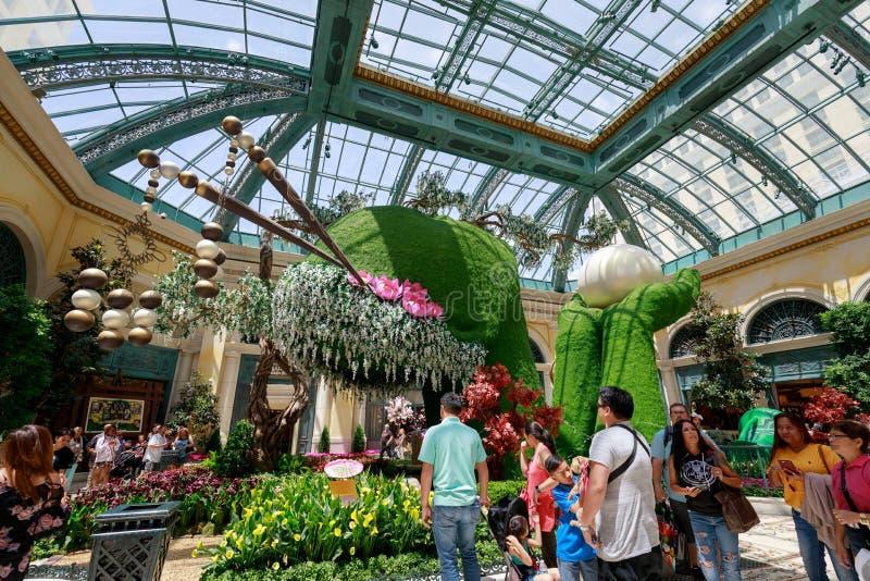 Cenário do conservatório do hotel de Bellagio & de jardins botânicos em Las Vegas imagem de stock