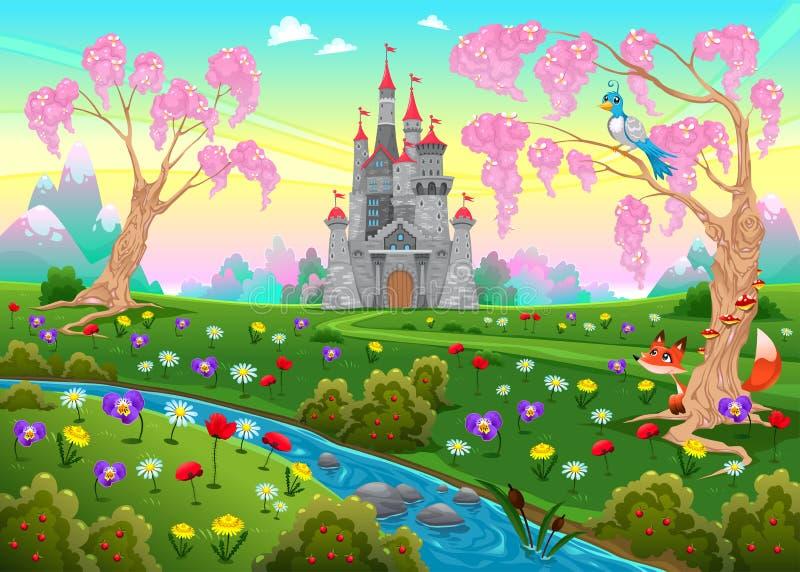 Cenário do conto de fadas com castelo ilustração royalty free