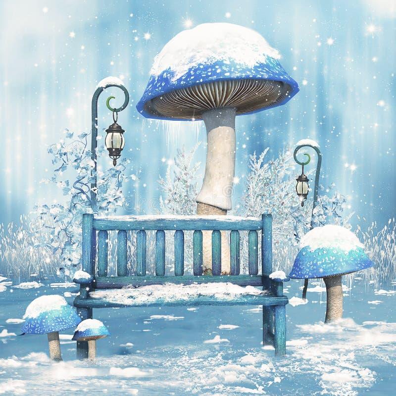 Cenário do conto de fadas do inverno ilustração royalty free