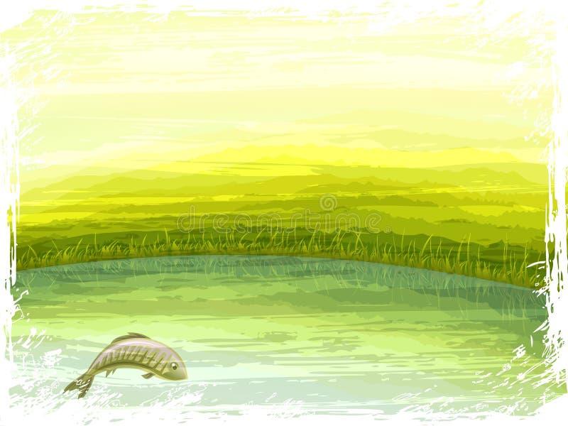 Cenário do lago summer ilustração royalty free