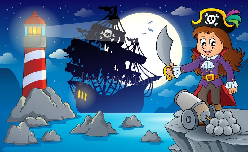 Cenário 1 do pirata da noite ilustração do vetor