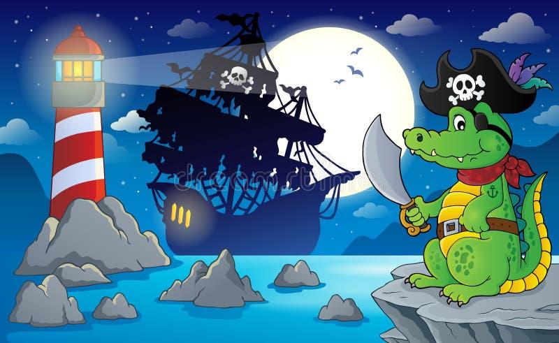 Cenário 5 do pirata da noite ilustração stock