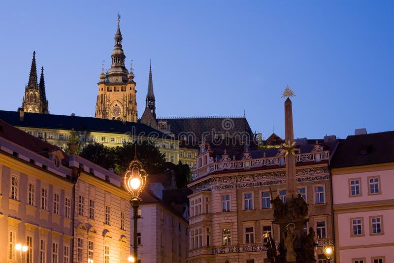 Cenário do por do sol em Praga fotos de stock