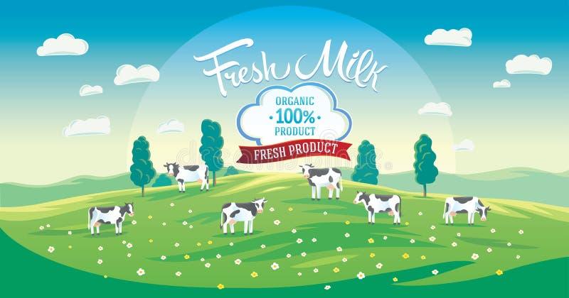 Cenário do verão com o rebanho das vacas ilustração do vetor