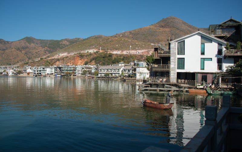 Cenário litoral do lago do erhai fotografia de stock