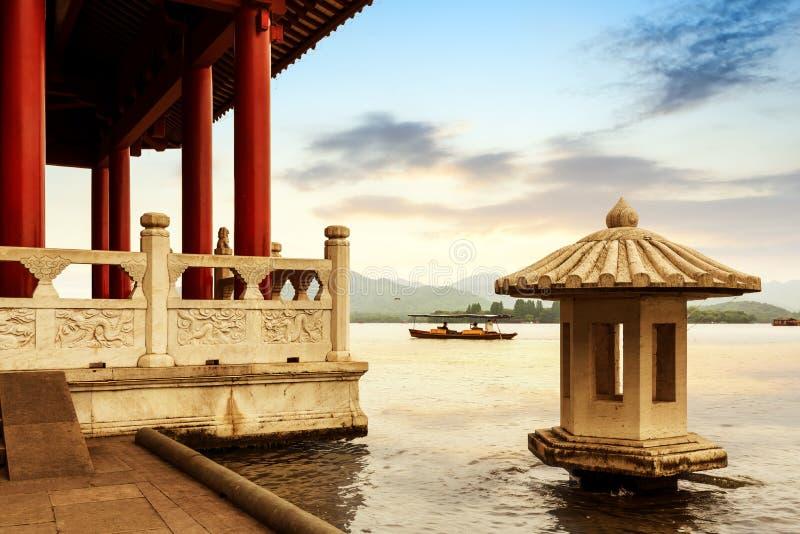 Cenário ocidental do lago china Hangzhou fotos de stock