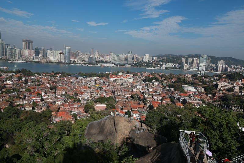 Cenário panorâmico de Xiamen, vista aérea da ilha de gulangyu fotos de stock royalty free