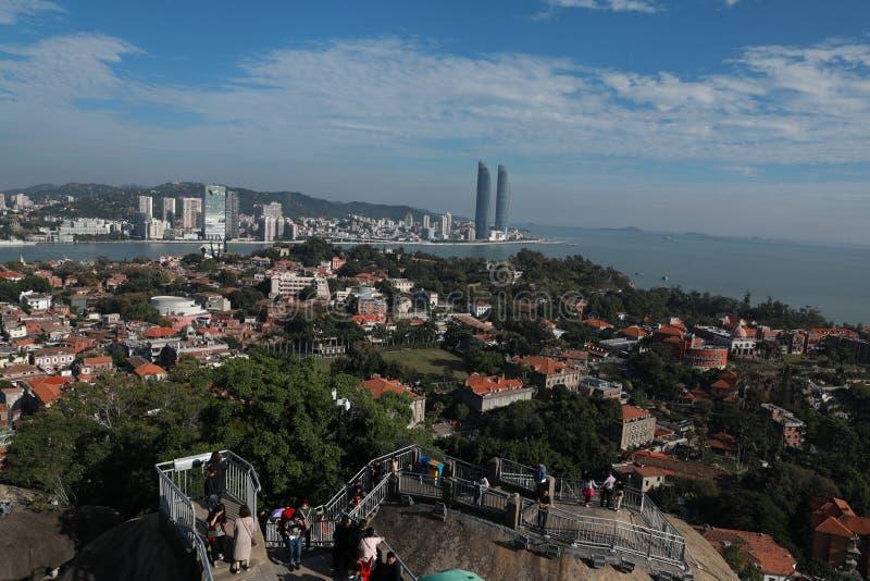 Cenário panorâmico de Xiamen, vista aérea da ilha de gulangyu fotografia de stock royalty free