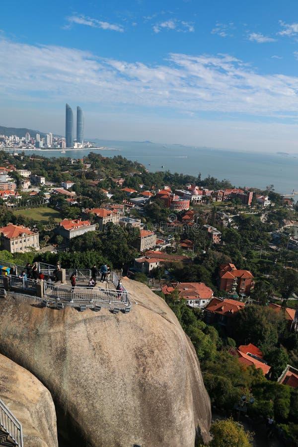 Cenário panorâmico de Xiamen, vista aérea da ilha de gulangyu fotografia de stock