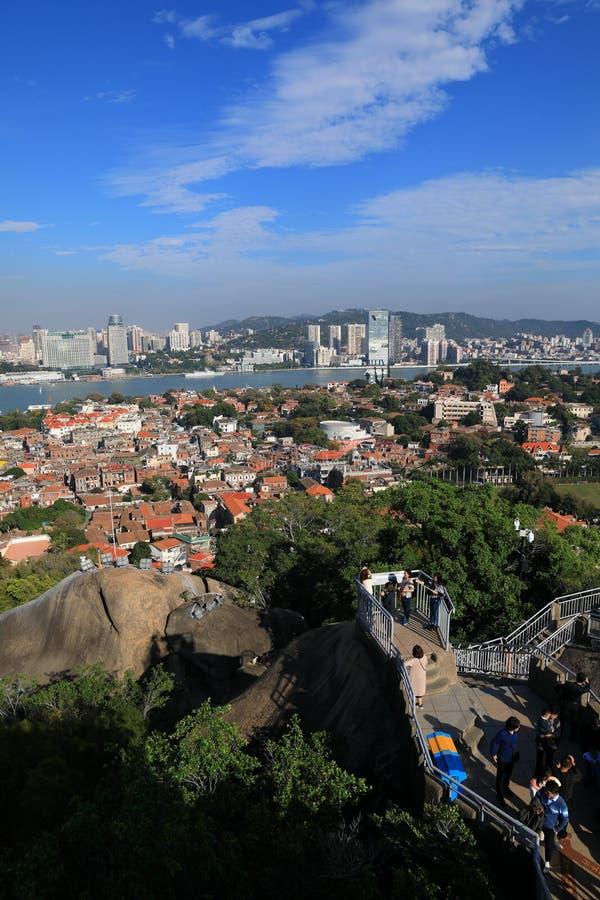 Cenário panorâmico de Xiamen, vista aérea da ilha de gulangyu imagem de stock royalty free