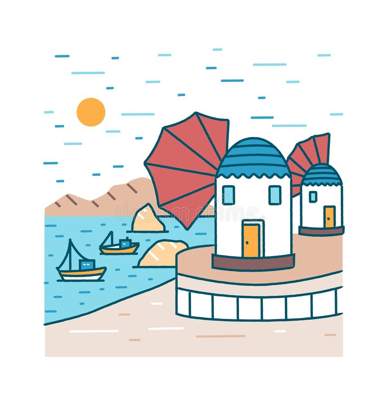 Cenário pitoresco do beira-mar com os barcos ou os navios que navegam no mar e as construções que estão na costa contra montanhas ilustração royalty free
