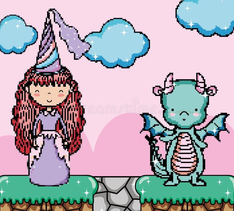 Cenário pixelated bonito da fantasia do videogame ilustração royalty free