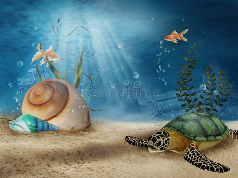 Cenário subaquático com escudos ilustração royalty free