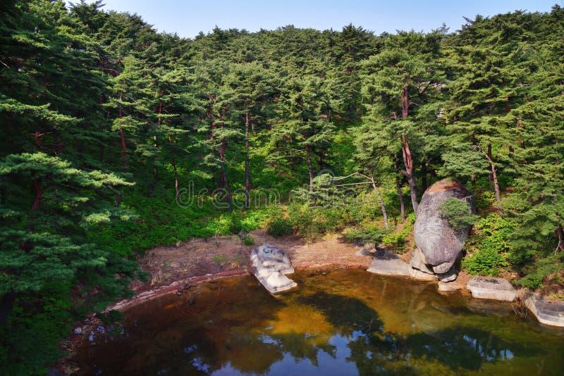 Cen?rio norte-coreano Lago coreano vermelho Samilpo da floresta do pinho foto de stock