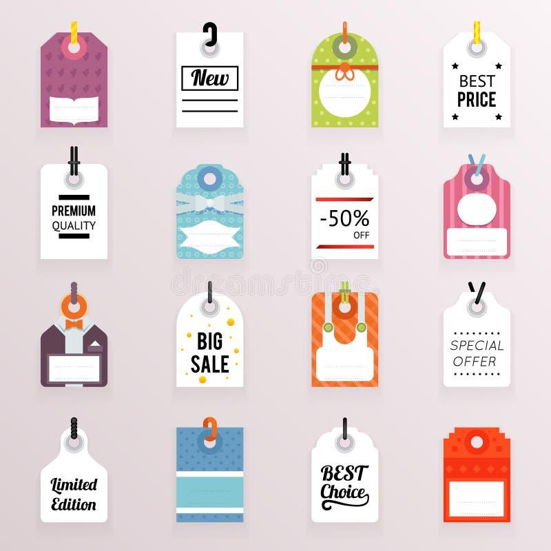 Cen Sprzedaży etykietek teksta etykietki symbolu szablonu wektoru ikona Ustawiająca ilustracja ilustracji