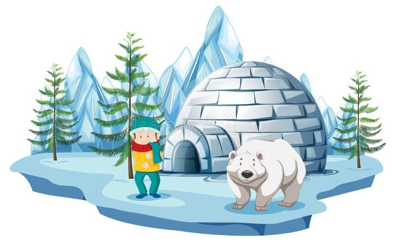 Cena ártica com menino e o urso polar pelo iglu ilustração royalty free
