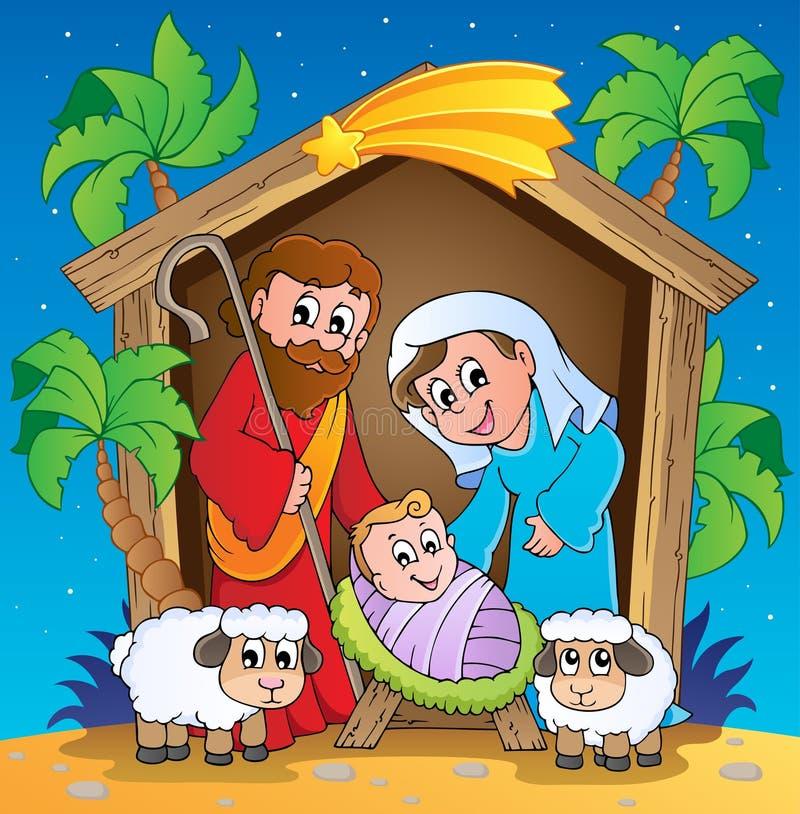 Cena 3 da natividade do Natal ilustração do vetor