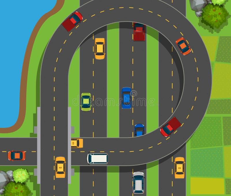 Cena aérea com os carros na estrada ilustração stock