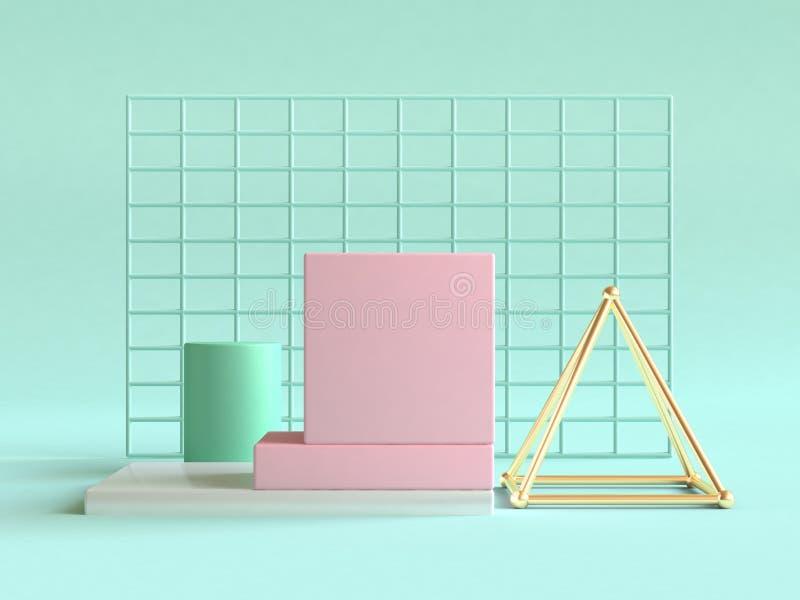 A cena abstrata 3d da vida da forma geométrica cor-de-rosa do ouro verde ainda rende o fundo verde ilustração stock