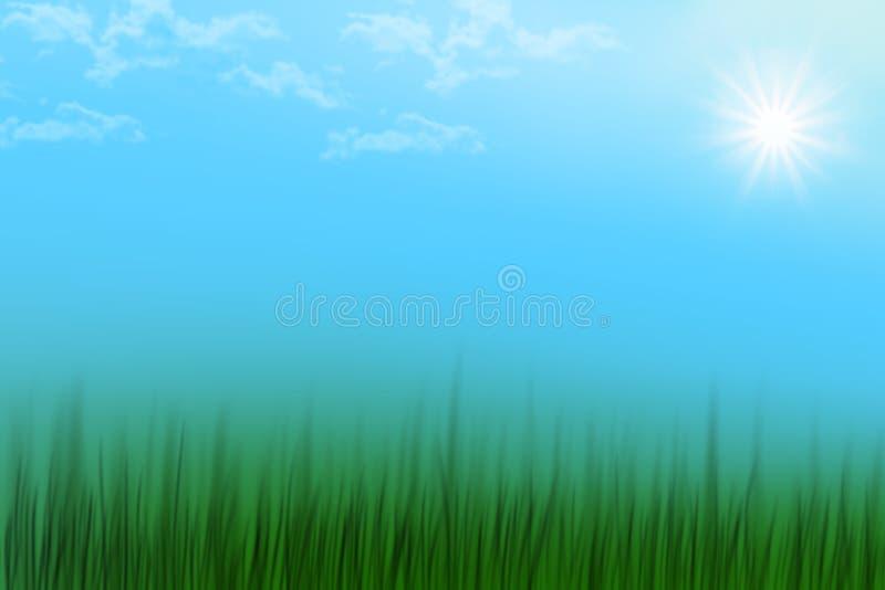 Cena abstrata do verão da mola com o sol e as nuvens do céu azul da grama ilustração stock