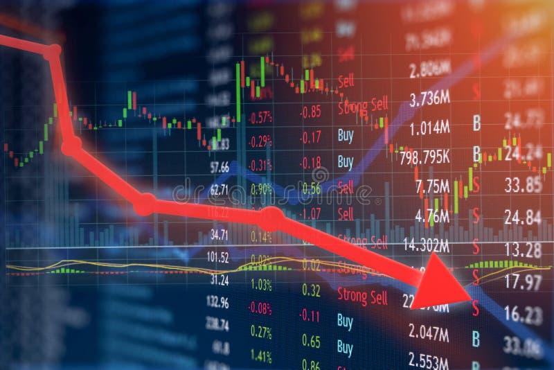 Cena akcji gwałtownie spadać z negatywną wiadomością i inwestycja jest gubjącym i obrazy royalty free