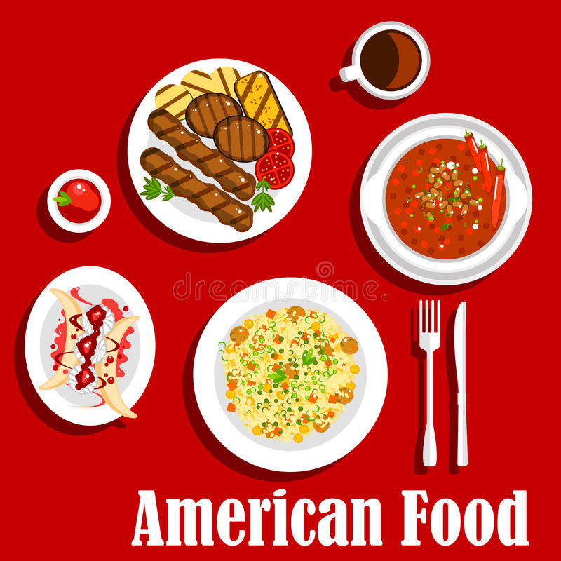 Cena americana con el icono asado a la parrilla de la carne y de los chiles libre illustration