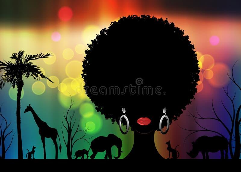 Cena animal da paisagem da silhueta do safari africano e mulher africana do retrato no cabelo tradicional encaracolado Árvore do  ilustração royalty free
