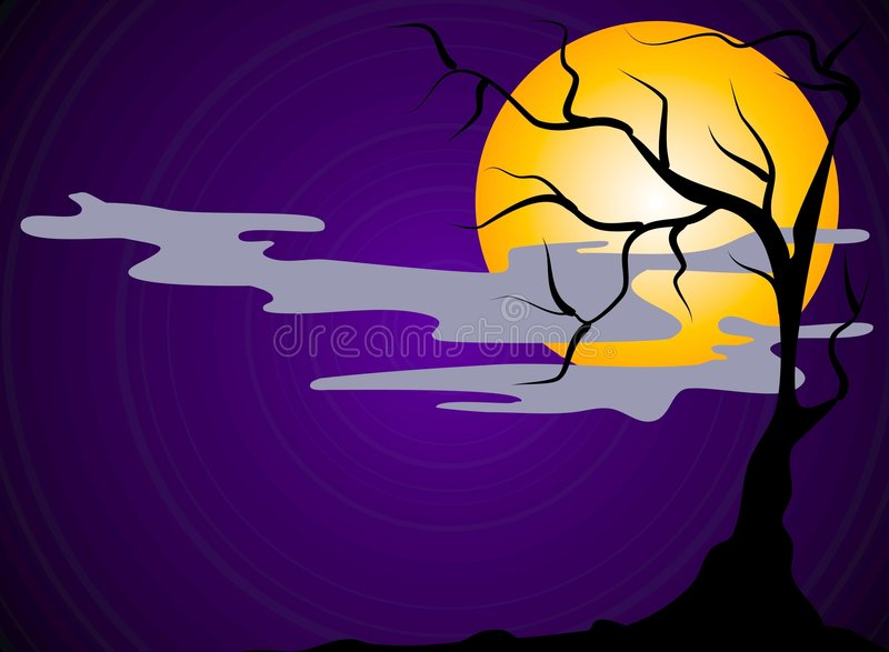 Cena assustador da noite de Halloween ilustração stock