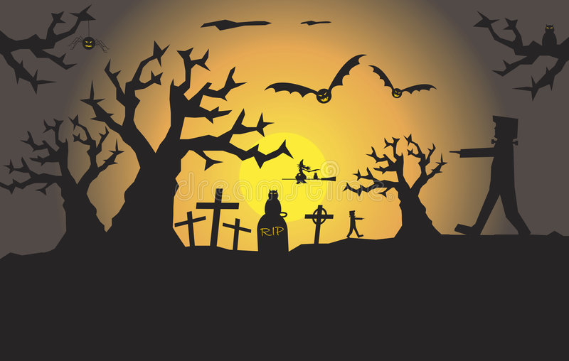 Cena assustador de Halloween com espaço para o texto ilustração stock