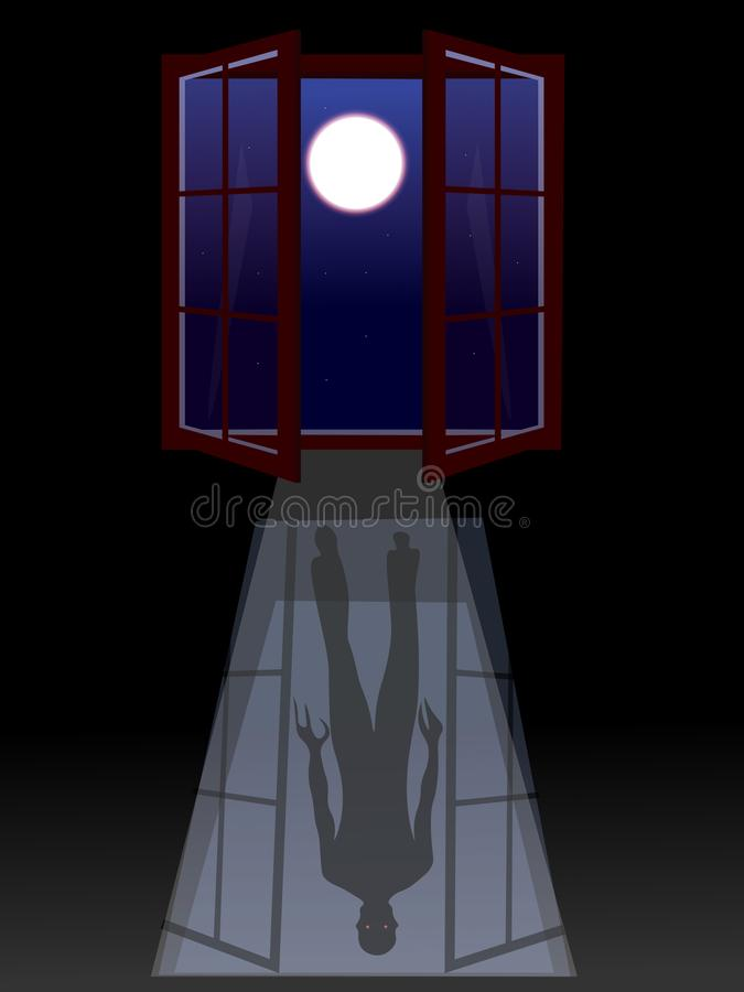 A cena assustador assustador, medo da obscuridade, inclui o monstro, janela, raios claros, Lua cheia ilustração stock