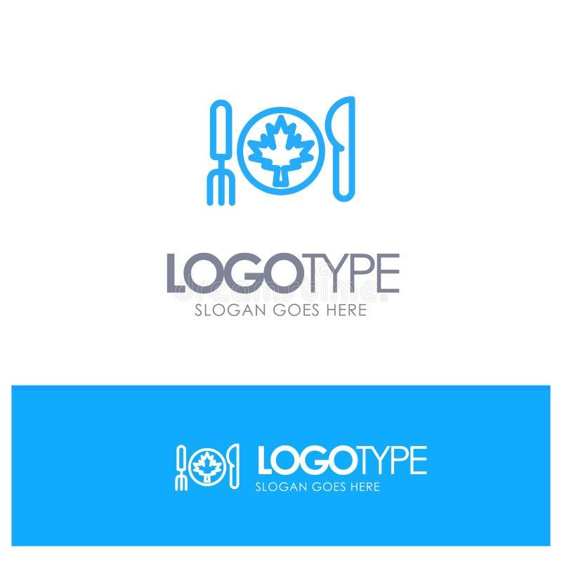 Cena, autunno, Canada, logo blu del profilo della foglia con il posto per il tagline royalty illustrazione gratis