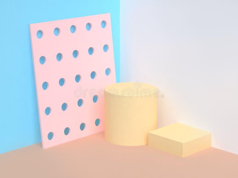 Cena azul cor-de-rosa 3d do canto do sumário da parede para render ilustração royalty free