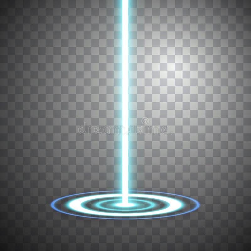 Cena azul da noite do raio Salão de baile do pódio do efeito da luz do clube do disco Portal mágico da fantasia Futurista telepor ilustração stock