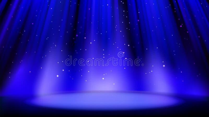 Cena azul vazia com fundo escuro, lugar iluminado pelo projetor macio, partículas efervescentes brilhantes Fundo azul, esplendor  ilustração stock