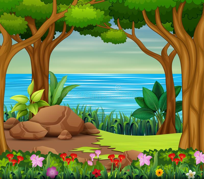 Cena bonita da floresta com rio e árvores ilustração royalty free