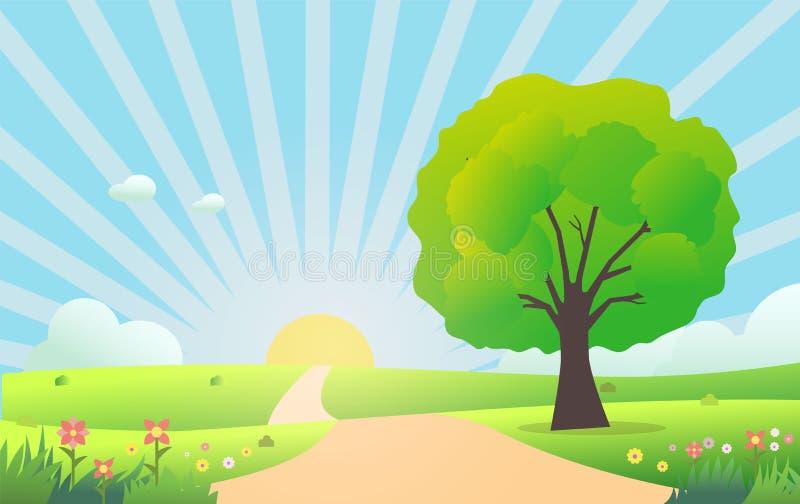 Cena bonita da natureza na manhã Ilustra??o do vetor Prado com grama verde, árvore, flores, sol brilhante e nuvens ilustração stock