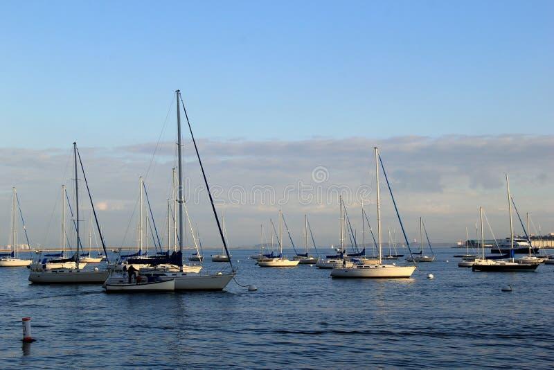 Cena bonita dos veleiros na água, Boston, Massachusetts, 2014 imagem de stock