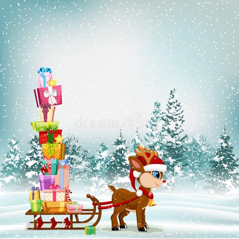 Cena bonito dos desenhos animados do Natal com rena e pequeno trenó completamente do presente ilustração do vetor