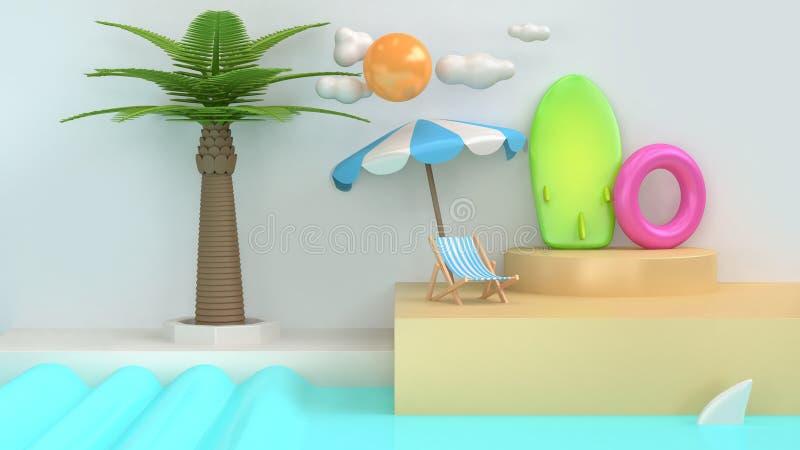 Cena branca 3d da praia abstrata do mar do estilo dos desenhos animados para render fotos de stock royalty free