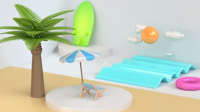 Cena branca 3d da praia abstrata do mar do estilo dos desenhos animados para render imagens de stock royalty free