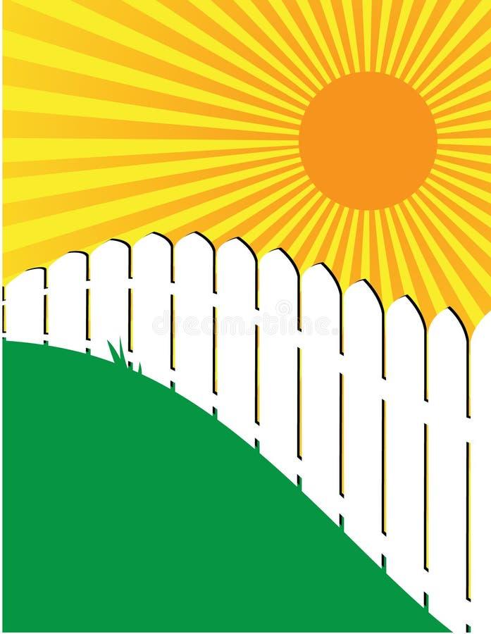 Cena branca ensolarada 1 da cerca e da grama ilustração do vetor