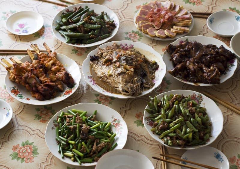 Cena china de la familia fotografía de archivo
