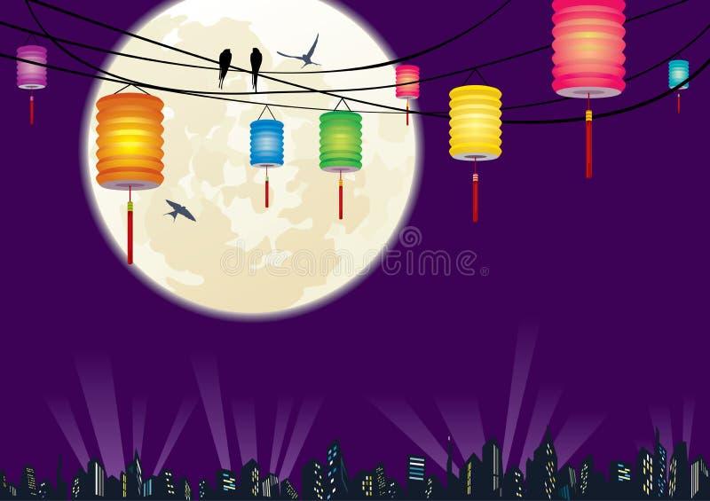 A cena chinesa b da noite da cidade do festival do Meados de-outono ilustração do vetor