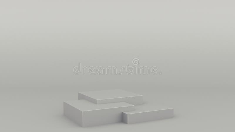 Cena cinzenta 3d m?nimo do p?dio geom?trico da caixa que rende a zombaria minimalistic moderna acima, molde vazio, mostra vazia ilustração stock