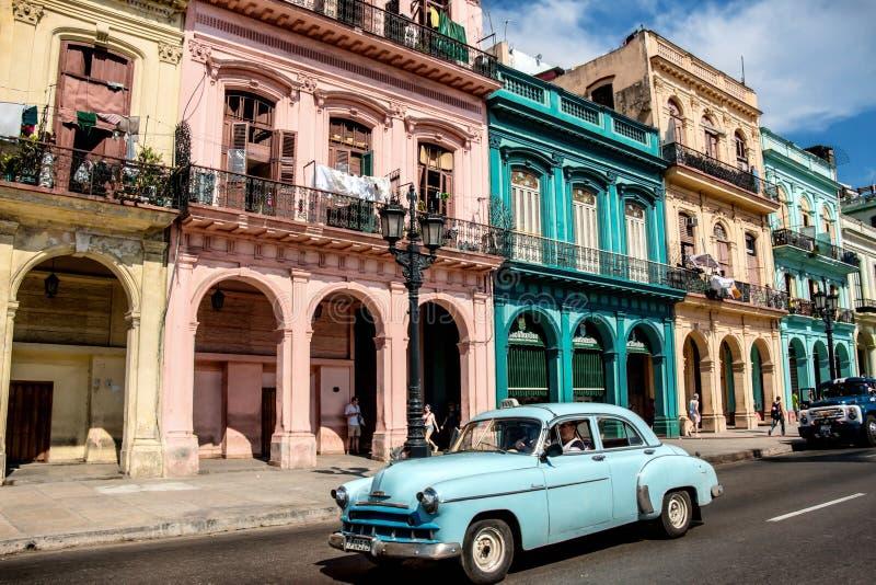 Cena clássica de Havana Paseo de Marti Sunny Street foto de stock
