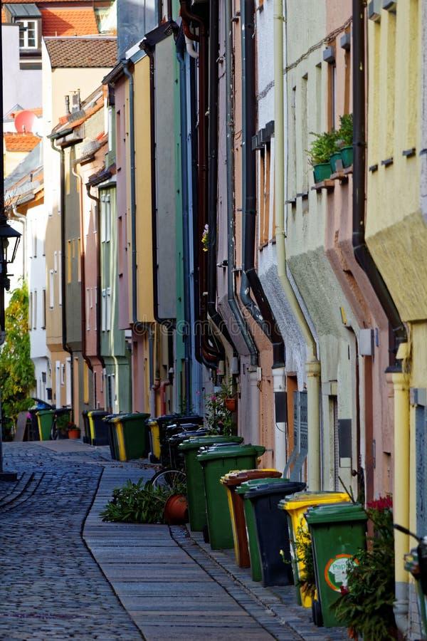 Cena colorida Augsburg da cidade das fachadas da casa imagem de stock