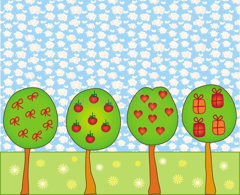 Cena com árvores decorativas ilustração do vetor