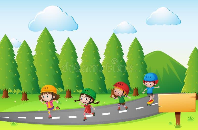 Cena com as crianças que patinam na estrada ilustração royalty free