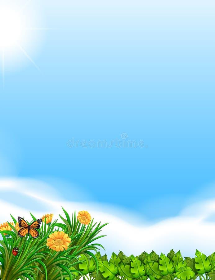Cena com céu azul e jardim ilustração royalty free