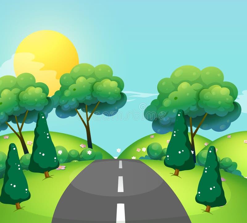 Cena com estrada e montes ilustração do vetor